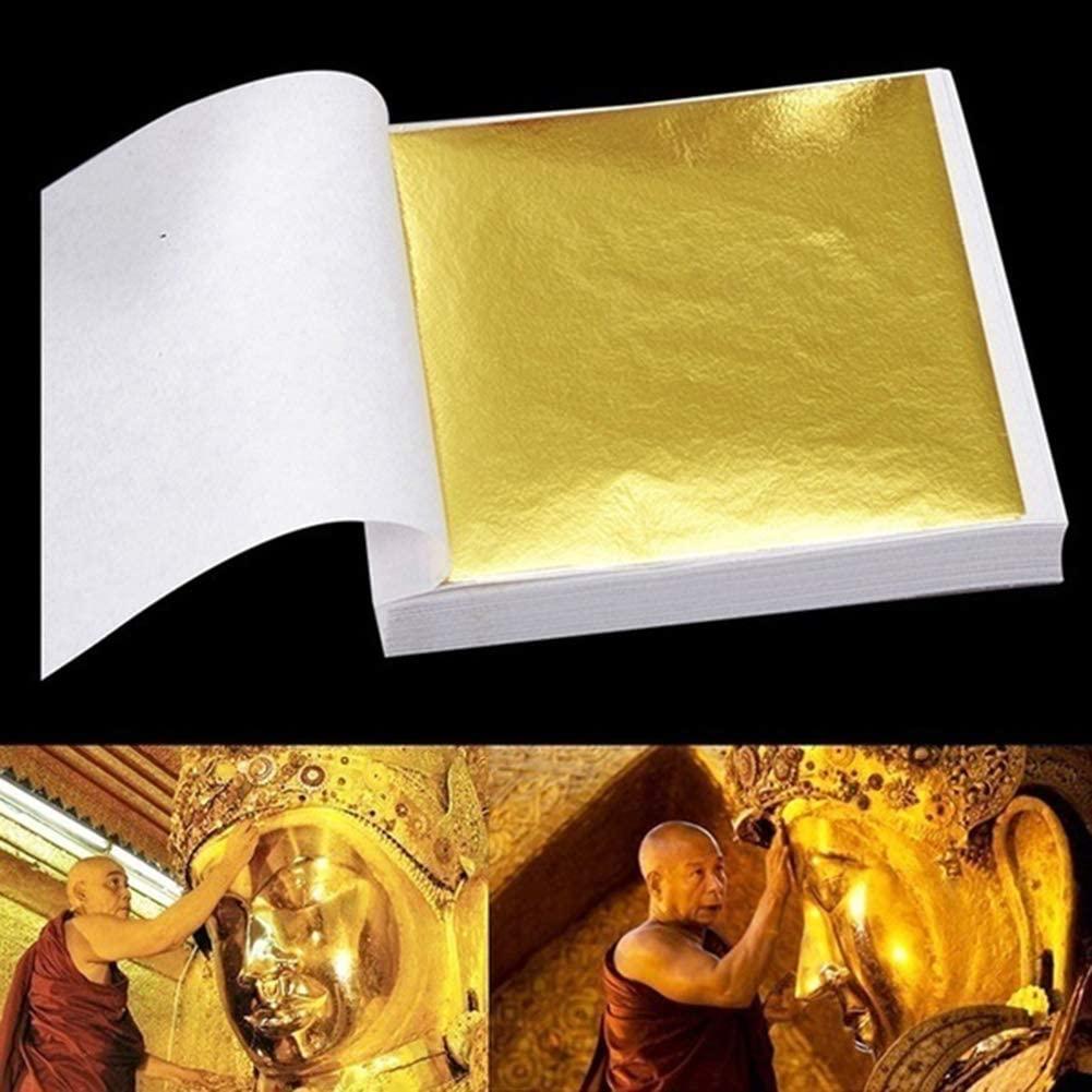 HomLand 95Pcs 9x9cm Leaf Foil Paper Gilding Art Craft Design Frame Decorative Material for Home Golden