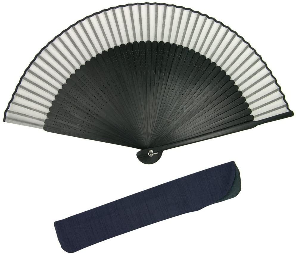 KYOETSU Japanese Sensu Folding Fan Black Ribs Silk (Black-1)