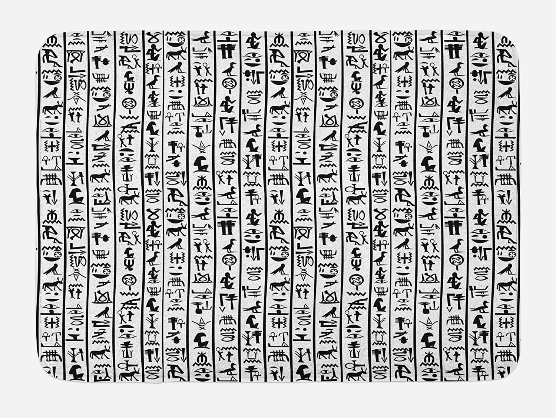 Ambesonne Egyptian Print Bath Mat, Vertical Borders Hieroglyphics Alphabet Language Cultural, Plush Bathroom Decor Mat with Non Slip Backing, 29.5