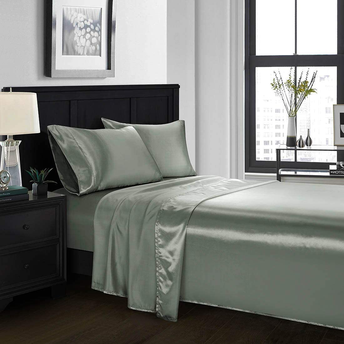 KBC linen Satin Flat Sheet Twin [1-Piece Flat Sheet Only, Dark Grey] Hotel Luxury Silky Flat Bed Sheet - Extra Soft Silky Satin Flat Sheet/Top Sheet