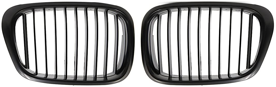 Matte Black Front Kidney Grilles Grill For 1997-2003 BMW E39 5 Series 525i 528i 530i 540i M5 4-Door