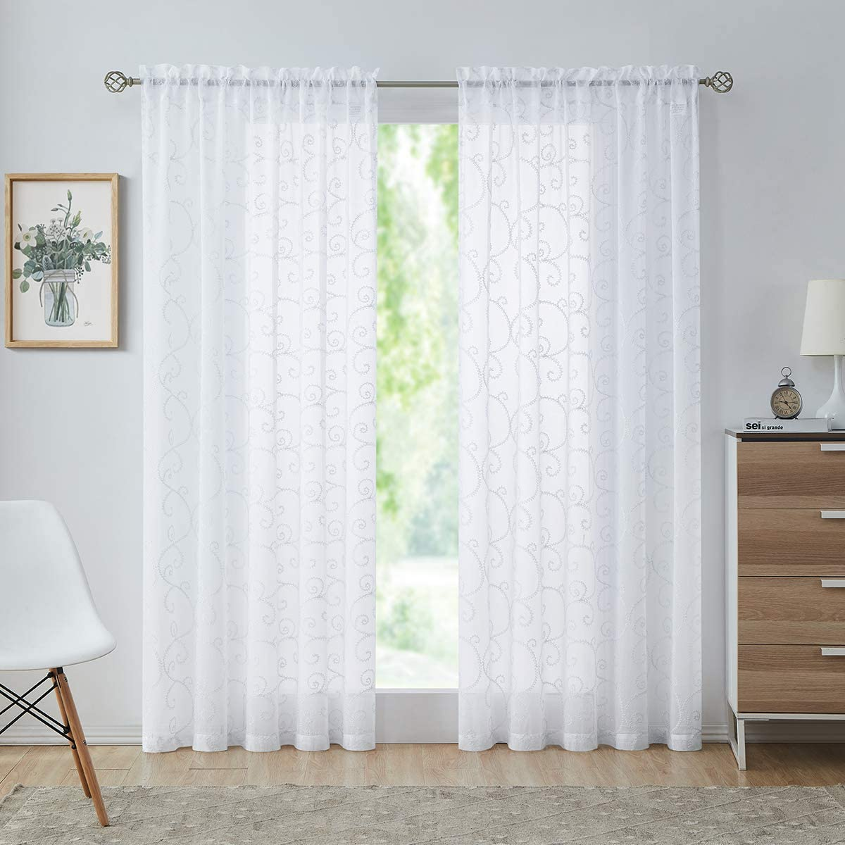 Variegatex White Sheer Curtains 84 Inches Long for Living Room, Scroll Floral Embroidery Light Filtering Linen Texture Rod Pocket Voile Window Treatment Drapes for Bedroom, 54x84, 2 Panels