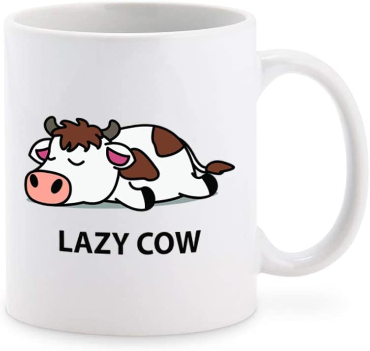 Cute Sleepy Lazy Cow Cartoon Coffee Mug Tea Cup Novelty Gift Mugs 11 oz