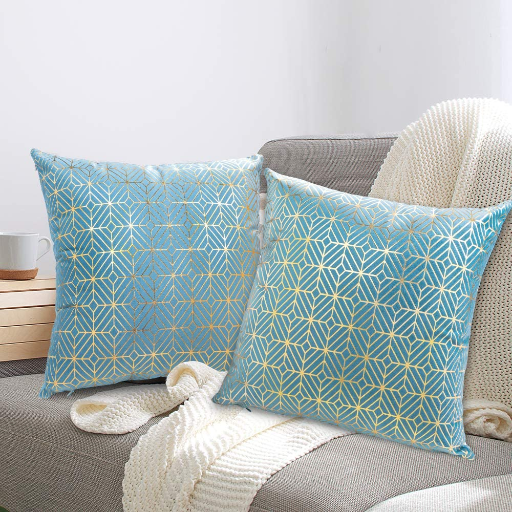 Pantula Velvet Throw Pillow Covers 18 x 18 Inches Gold Foil Hot Stamping Super Soft Pack of 2 Pillowcases Decorative Square Cushion Case Set for Sofa Couch Bedroom Car (Sky Blue)