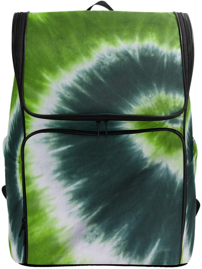 Green Psychedelic Tie Dye Backpack Waterproof Polyester Campus Backpack Lightweight Travel Daypack Large Capacity