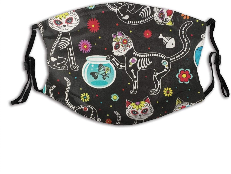 Sugar Skull Skeleton Cat And Fish Black Face Mask With Filter Pocket Washable Reusable Face Bandanas Balaclava With 2 Pcs Filters
