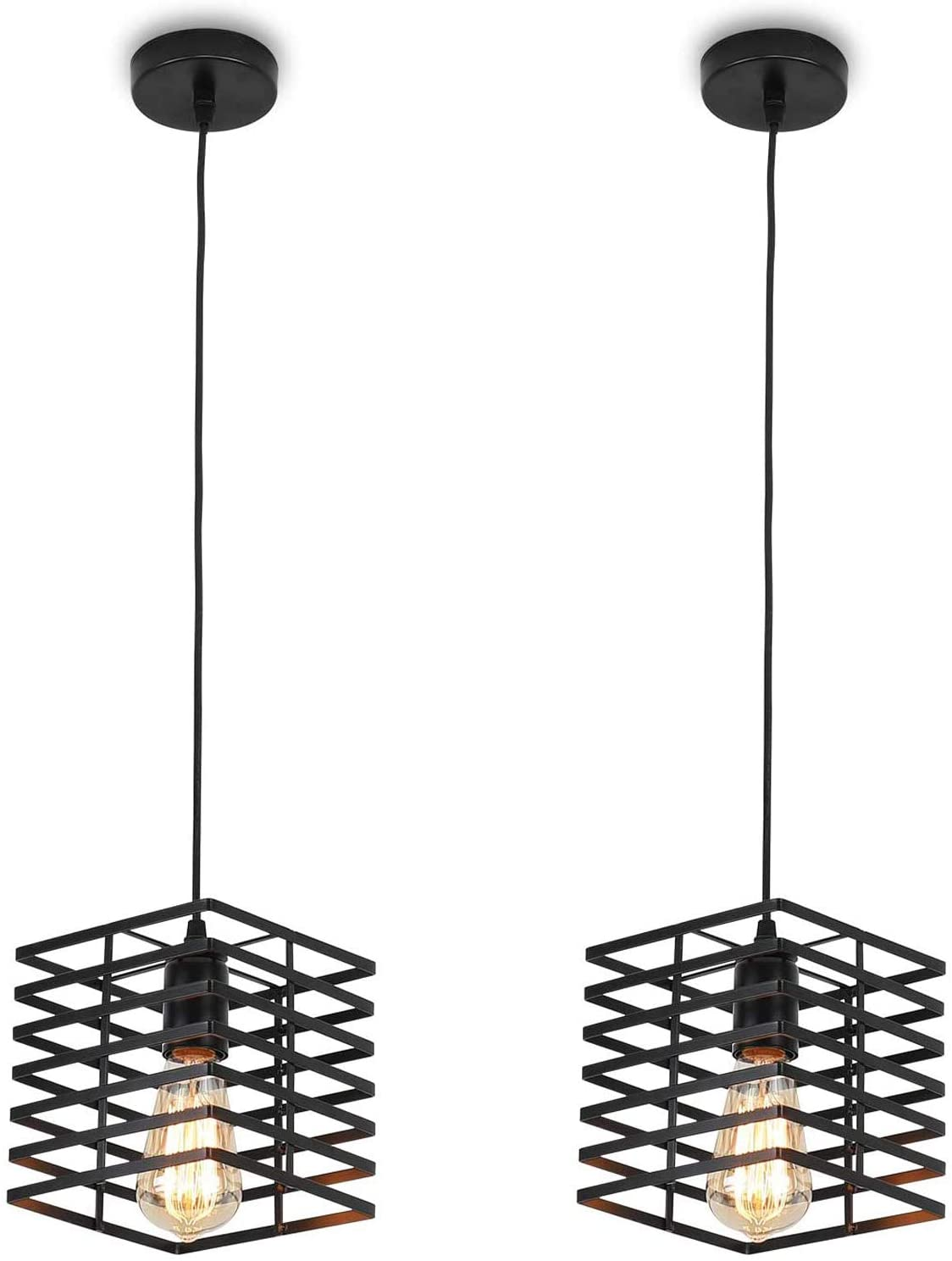 Farmhouse Pendant Light Set of 2, JOOSENLUX Edison Metal Black Pendant Lights Fixtures E26 Industrial Vintage Hanging Lamp for Kitchen Island Dinning Room Bedroom (Square)