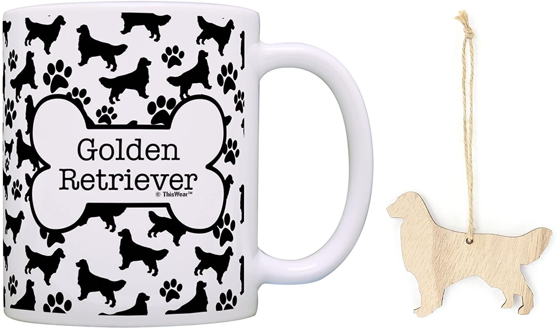 Golden Retriever Christmas Ornament Golden Retriever Coffee Mug Tea Cup Bundle Dog Stocking Stuffer