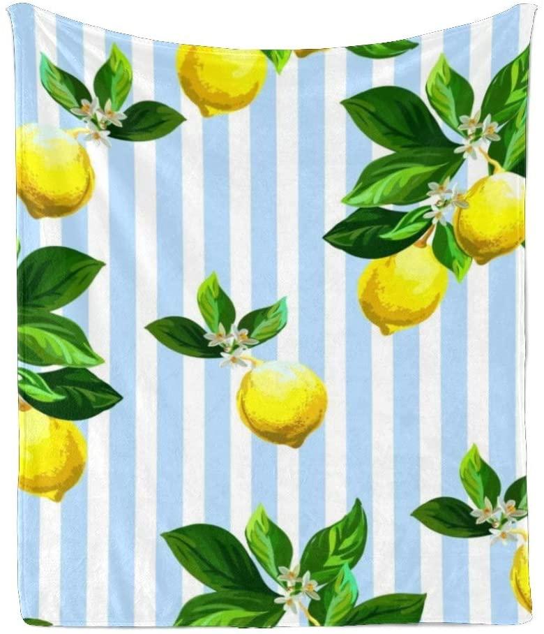 CUXWEOT Custom Super Soft Throw Blanket Fleece Blanket for Couch Sofa Bed Gift Tropical Lemon Blue Striped (50inchX60inch)