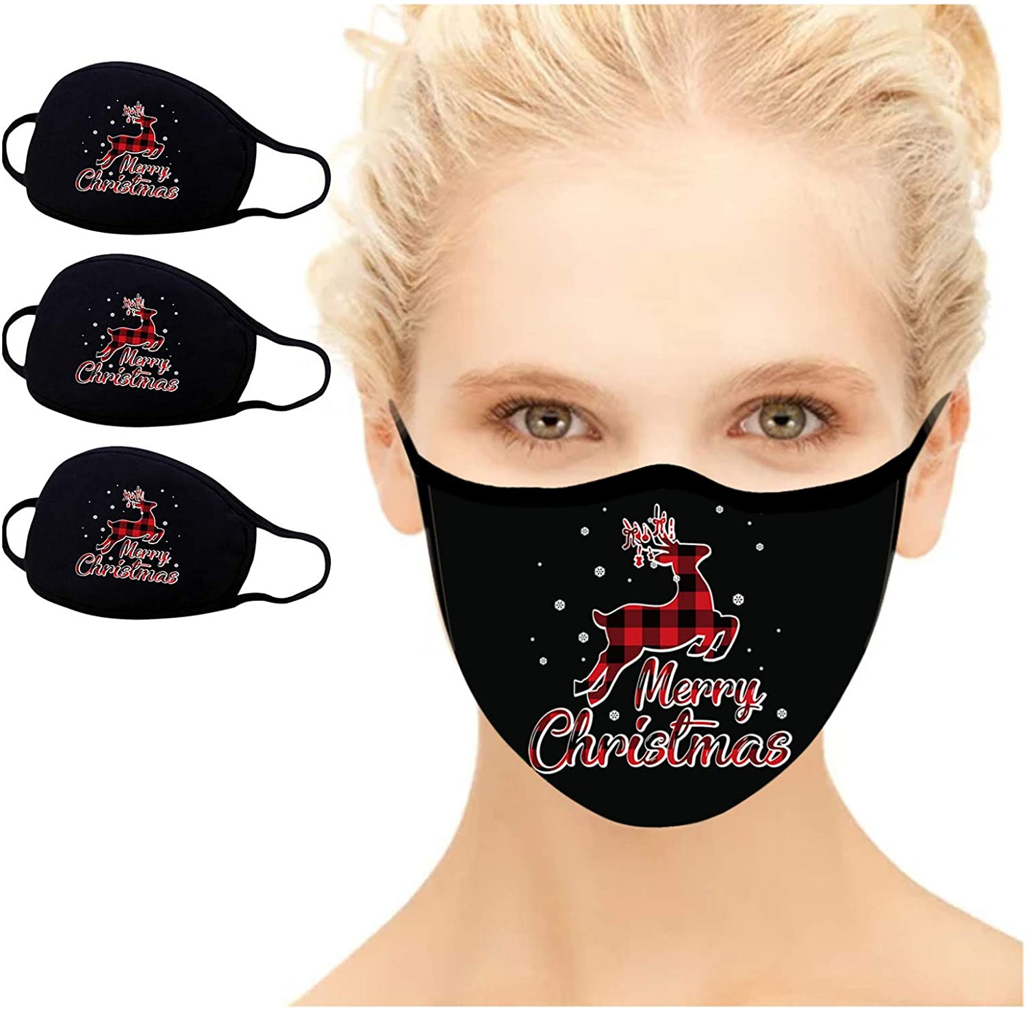 GGGG 3 PCS Cotton Face_Mask Washable Windproof Comfortable Bandanas Breathable Comfortable Washable Face Mouth Protection for Unisex Adults Women Men