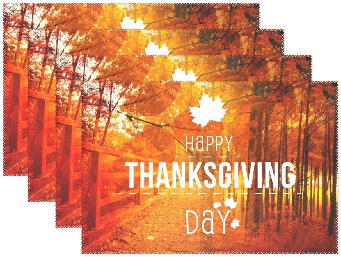 WOZO Autunm Forest Landscape Happy Thanksgiving Day Placemat Table Mat 12