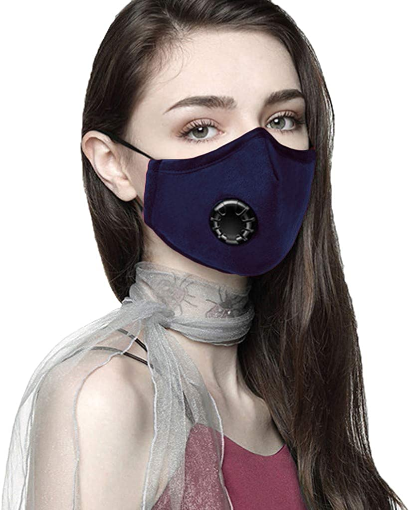 Women's Fashion Face Cover Filter Mask with Breathing Valve Washable Printed Cotton Anti Dust Bandanas