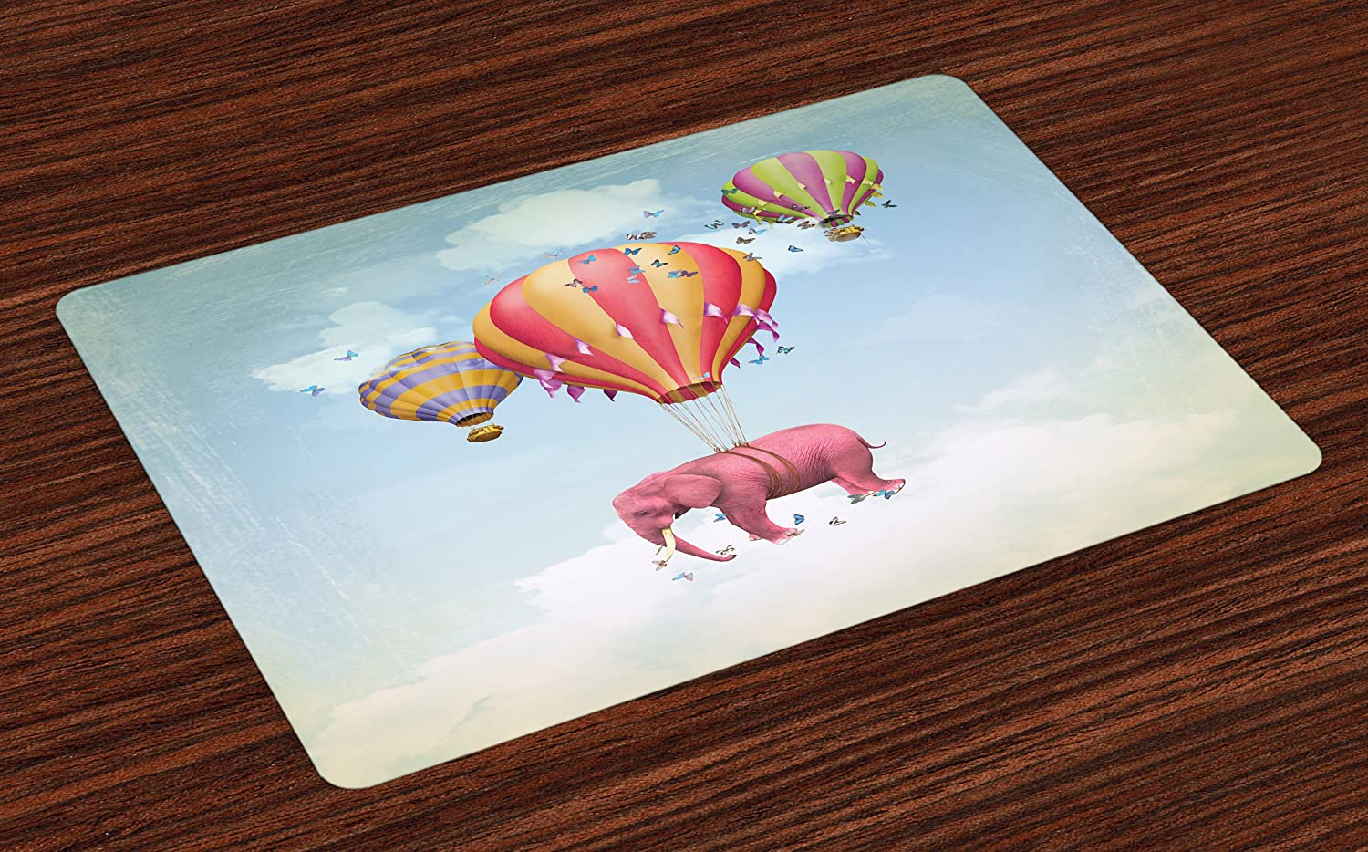 Ambesonne Elephant Place Mats Set of 4, Pink Elephant in The Sky with Balloons Illustration Daydream Fairytale Travel, Washable Fabric Placemats for Dining Room Kitchen Table Decor, Multicolor
