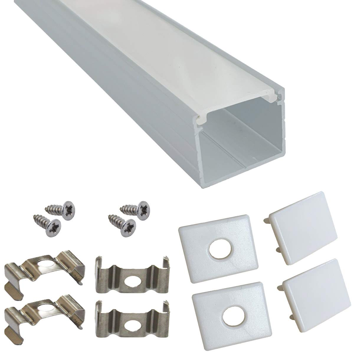 Litever 6-Pack 3.3ft/1 Meter 15x18mm U Shape Aluminum Channels for Lightstrip Plus and Other LED Strips. Diffused PC Covers, End Caps, Mounting Clips, Screws Included.
