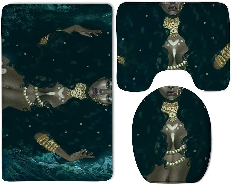NiYoung Soft and Cozy Bath Mats - 3 Piece Toilet Carpet Rugs Includes U-Shaped Bath Mats Lid Cover Non Slip Shaggy Mat Absorbent Toilet Floor Rug (African American Black Woman Bikini Girl Art)