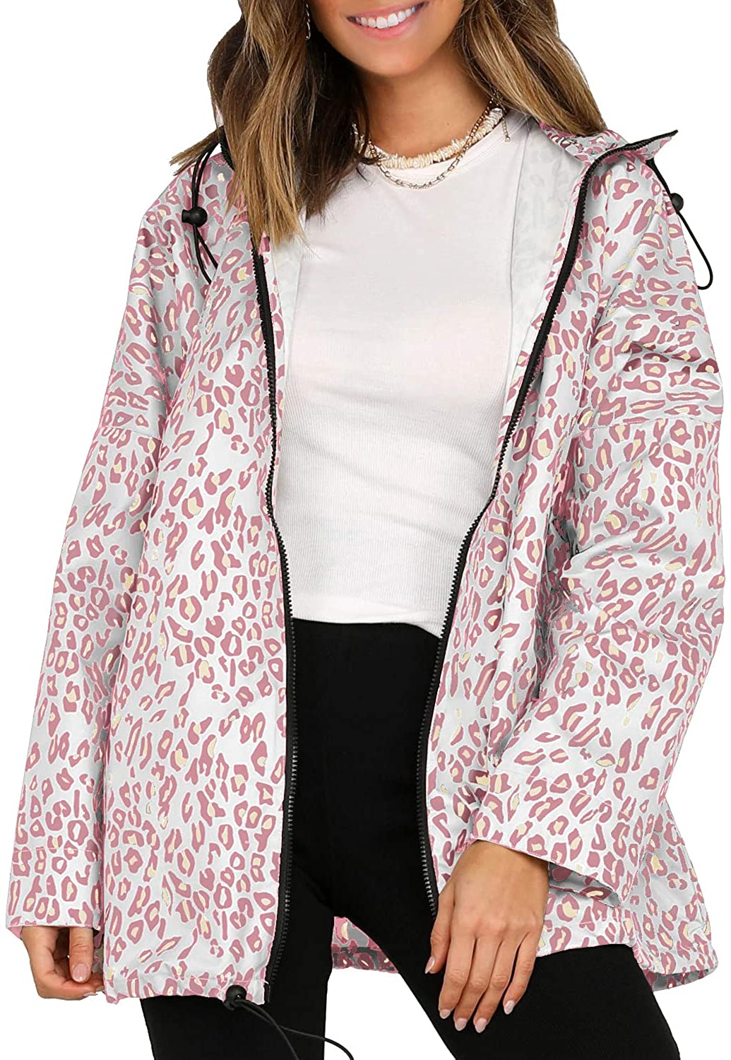 Leopard Print Windbreaker Women Sports Windproof Jacket Casual Trench Coat with Pockets Hood Zip