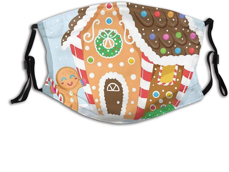 Cute Gingerbread Pillow Face Mask Scarf, Washable Breathable Reusable Bandana Adjustable, For Women & Men Outdoor