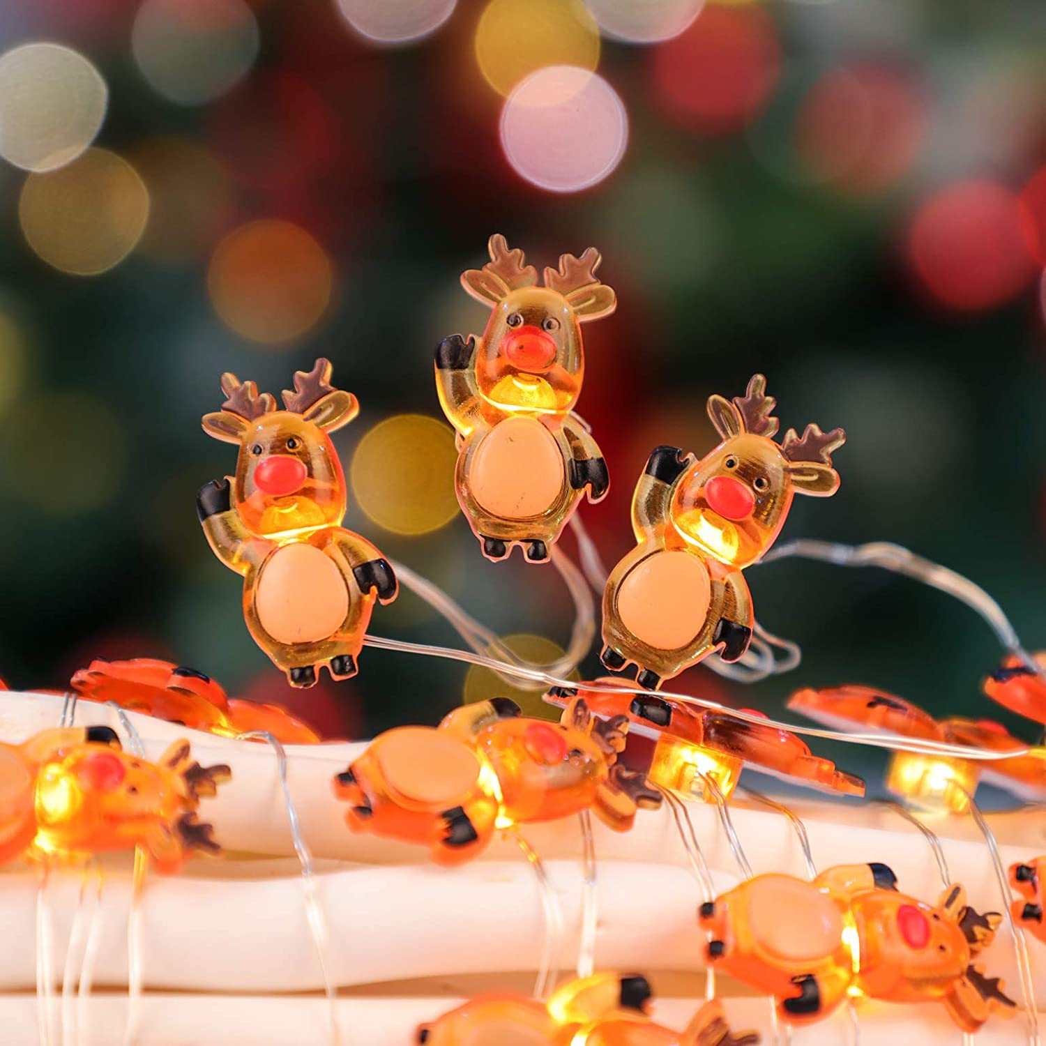 10 Ft 30 LED Orange Reindeer String Lights Decorative Lighting Strings, USB & Battery Powered Fairy Lights with Remote Control and Timer for Kid's Room Holiday Wedding Bedroom Christmas Party Decor