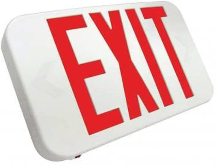 Compact LED Exit Sign Emergency Light Lighting Emergency LED Light/Battery Back-up/Double Face/White Housing/UL Certified (Red Letters)