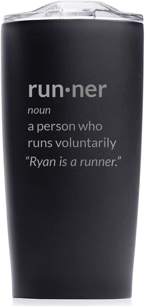 Engraved Personalized Runner Definition Stainless Steel Tumbler 20 oz (Black) - Funny Runner Gift, Gift for Marathoner