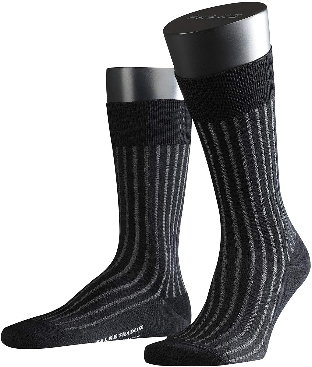FALKE mens Shadow Dress Sock - 95% Cotton, Grey (Grey-White 3030), US 12.5-13.5 (EU 47-48 Ι UK 11.5-12.5), 1 Pair