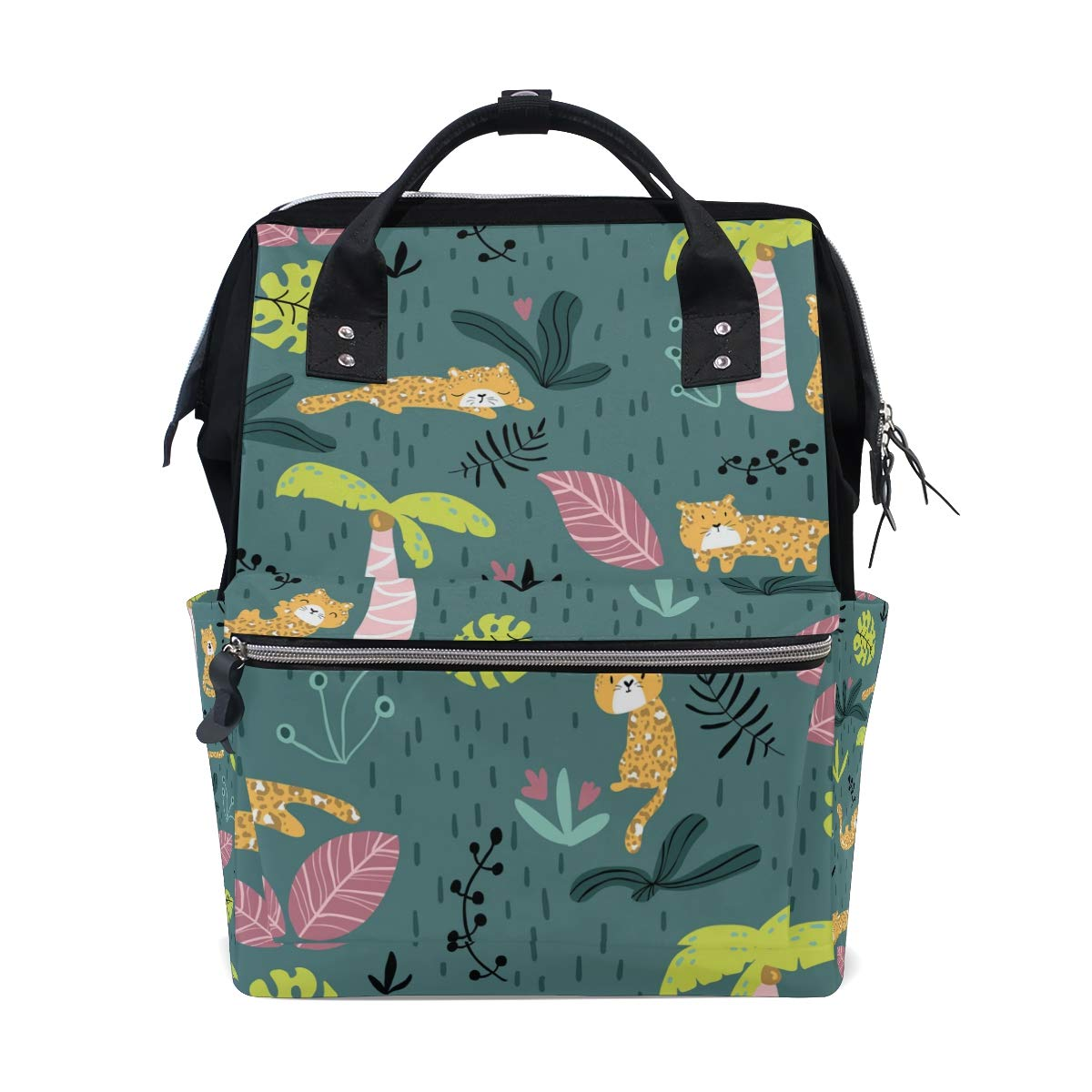 MERRYSUGAR Diaper Bag Backpack Forest Cheetah Green Multifunction Travel Bag