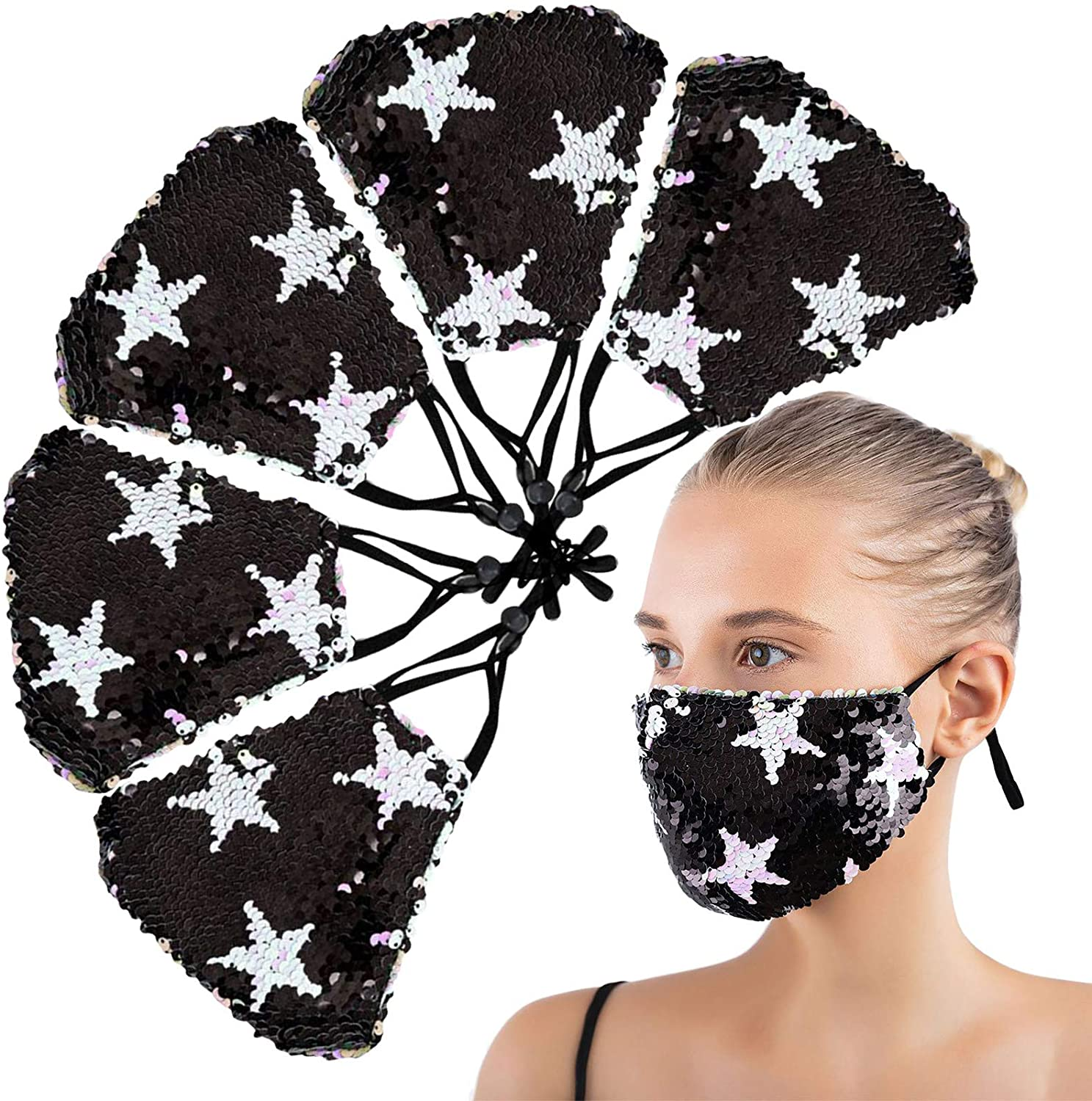 1PCS Reusablee_Face_Masks, Washable Adjustable Outdoors Sequins Face Bandanas for Unisex Adults,for Outdoor Activities
