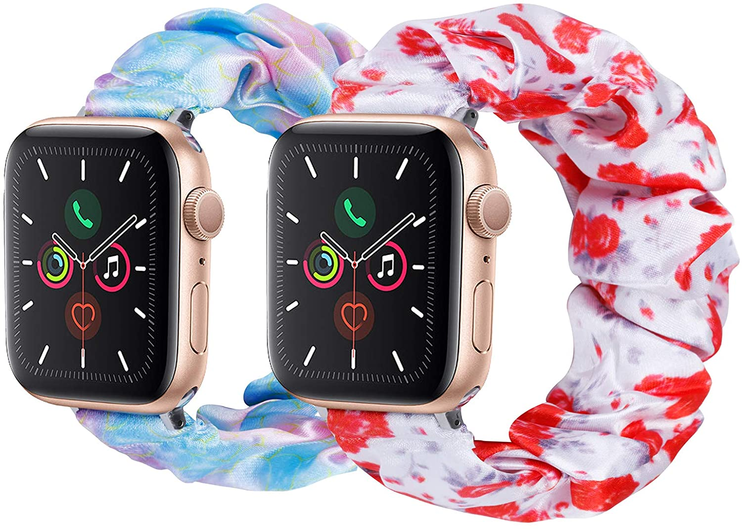 2 Pack Cute Scrunchie Elastic Watch Band Compatible for Apple Watch,38mm 40mm, 42mm 44mm,Printed Band Replacement Strap for iWatch Series 6,5,4,3,2,1(2 Pack-No.13+14, 42MM 44MM)
