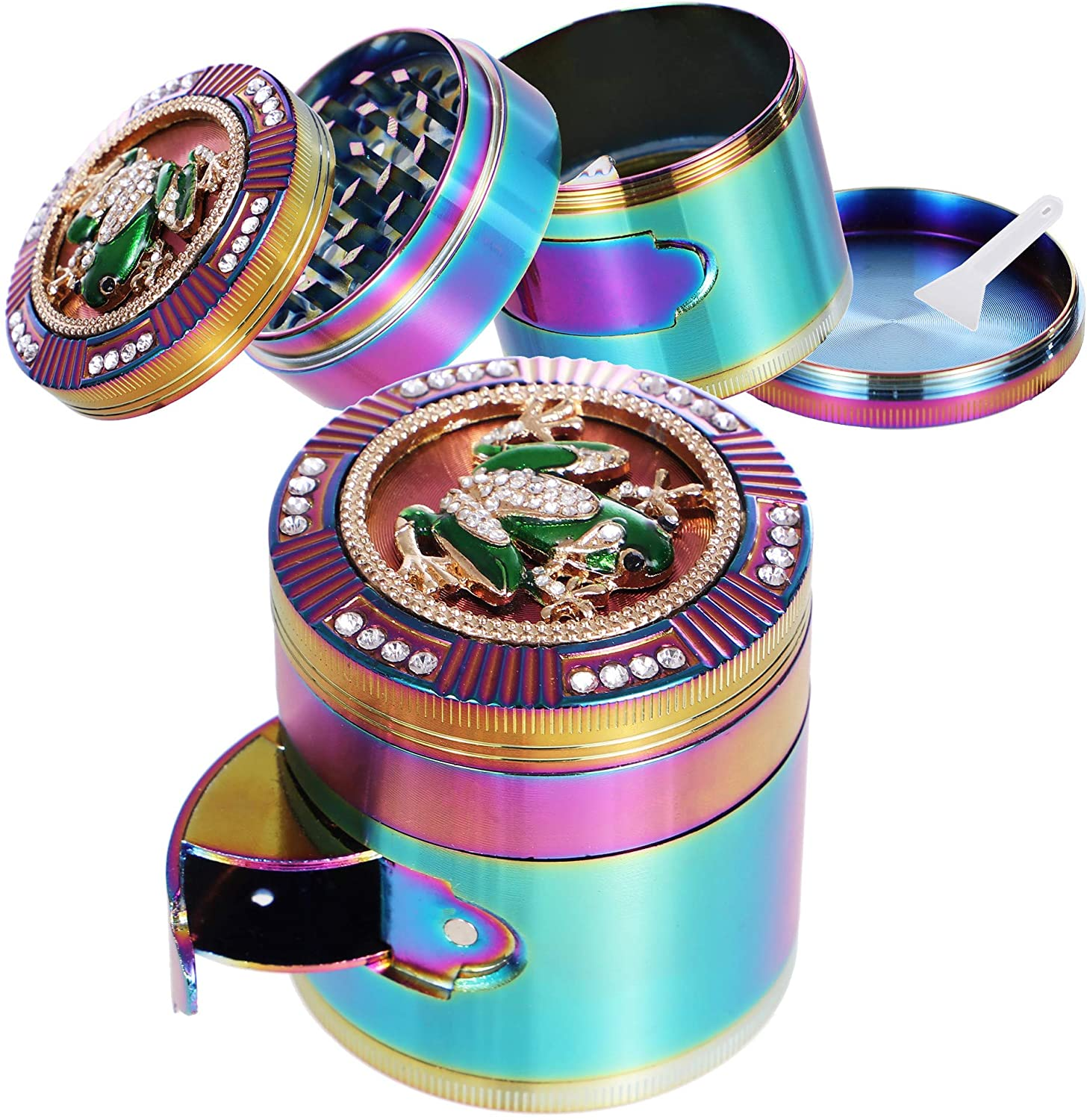 Finzdy Herb Grinder 2.87 Inches 4 Piece Grinder with Pollen Catcher Durable Zinc Alloy Herb Spice Heavy Duty Grinder with scrapper and Easy Access Window (Frog)