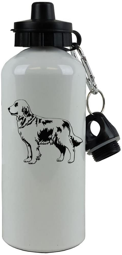 Personalized Custom Golden Retriever Aluminum White Finish 20 Ounce 600ML Sport Water Bottle Customizable