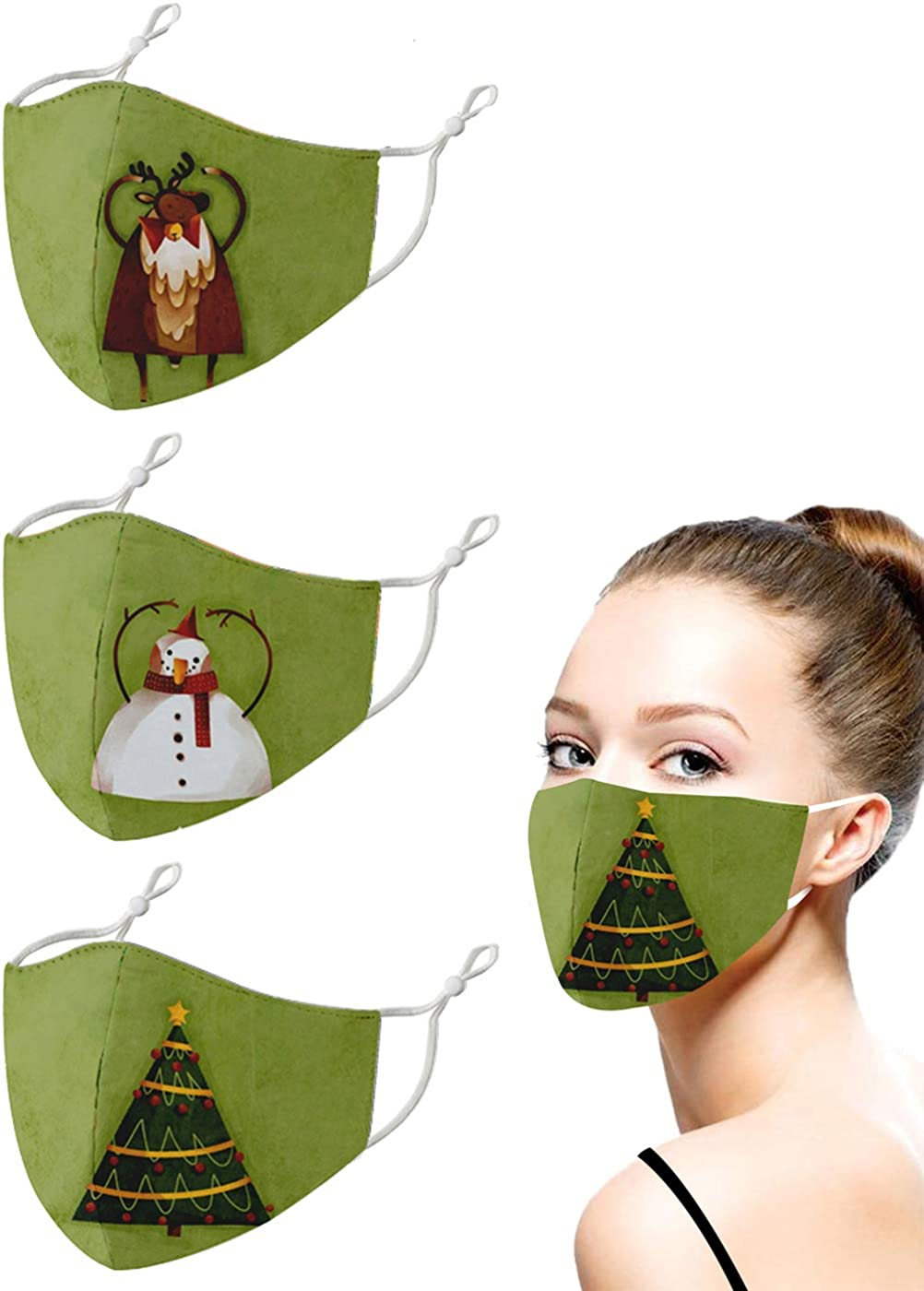 Fashion Christmas Santa Claus Printed Cloth Mask forMen Women, Reusable Adjustable Ear Loops Holiday Xmas Face Covering