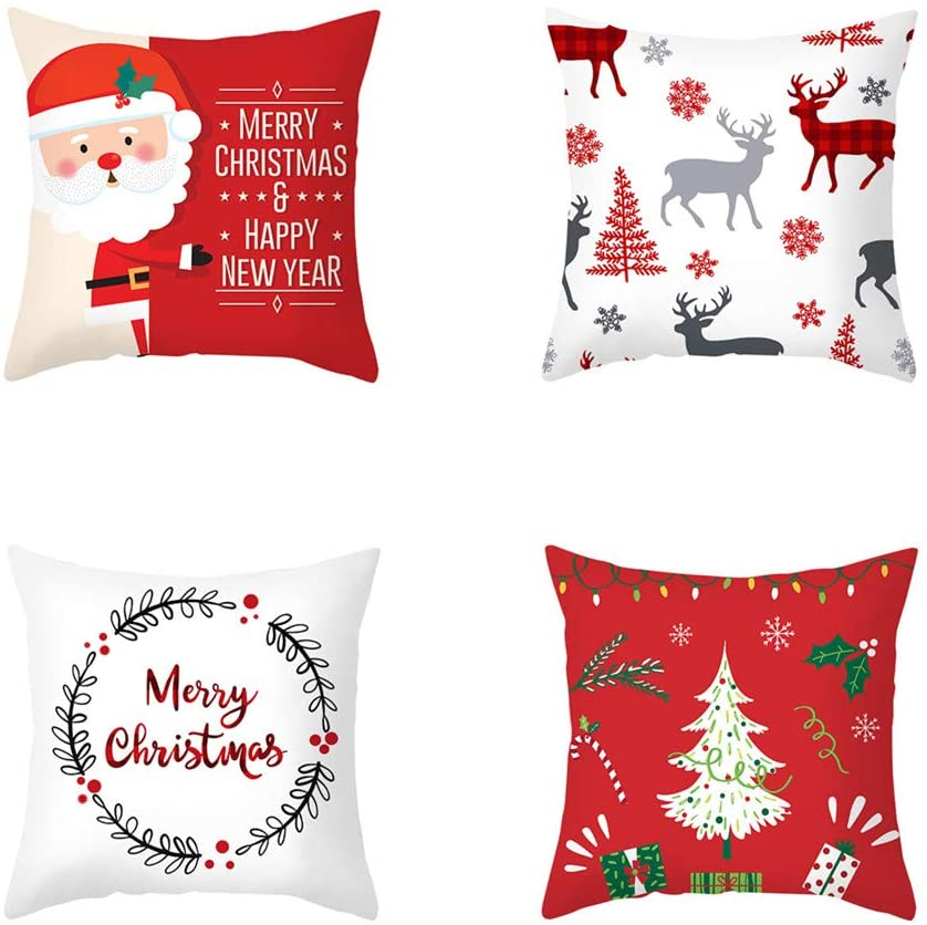 DUESS Throw Pillow Covers Christmas Home Decoration (C)