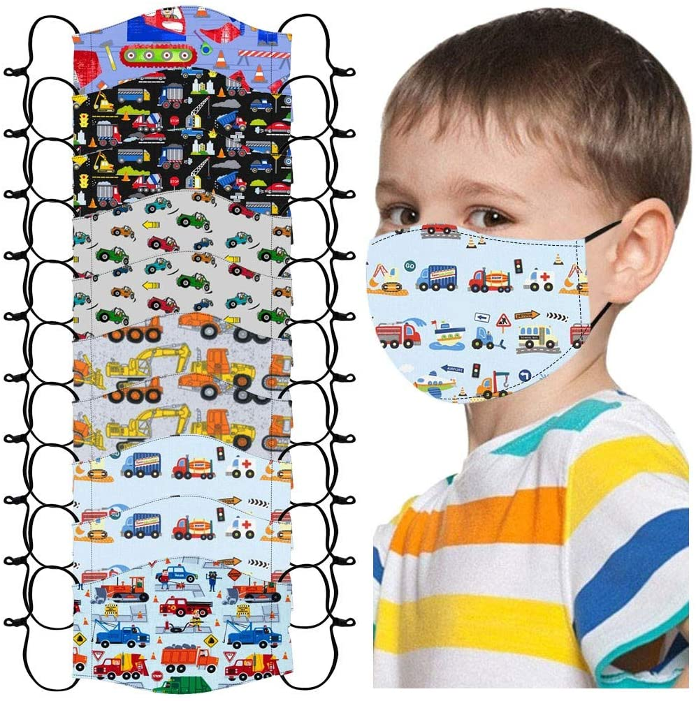 Gerichy 12PC Pack Kids Mask Washable Reusable Printed Cotton Mask Bandanas Face Shield for Kids,for Outdoor School Sport