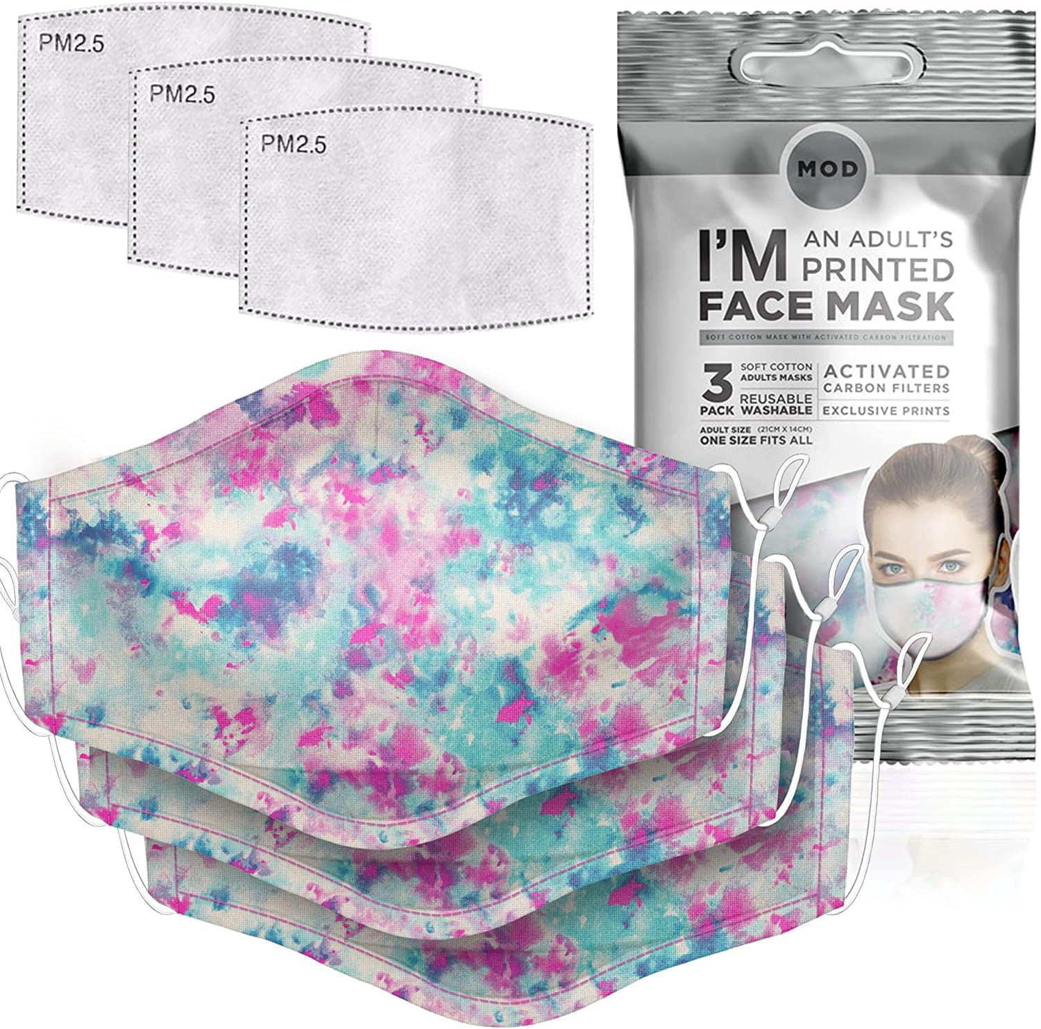 MOD Reusable Printed Face Mask, 3 Pk Adjustable, Filters (Adult, Watercolor)