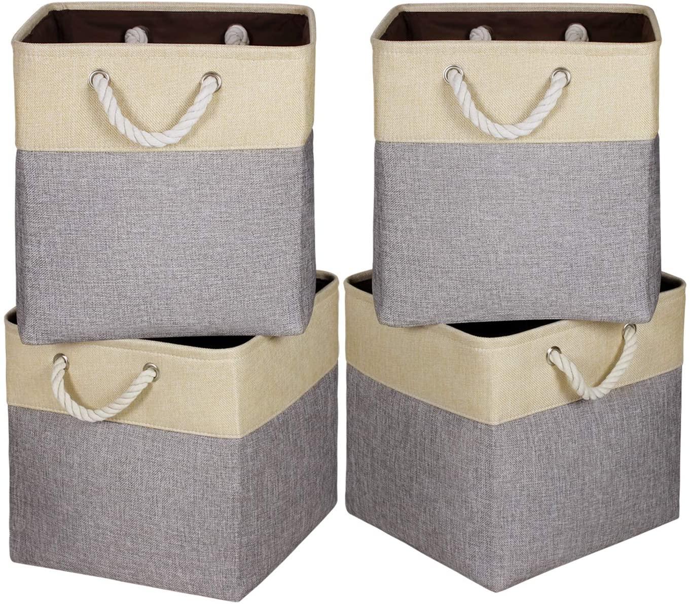Univivi Foldable Fabric Storage Bins [Set of 4] Large Foldable Canvas Fabric with Handles Fabric Storage Baskets for Organizing Shelf Nursery Home Closet (Gray - 13