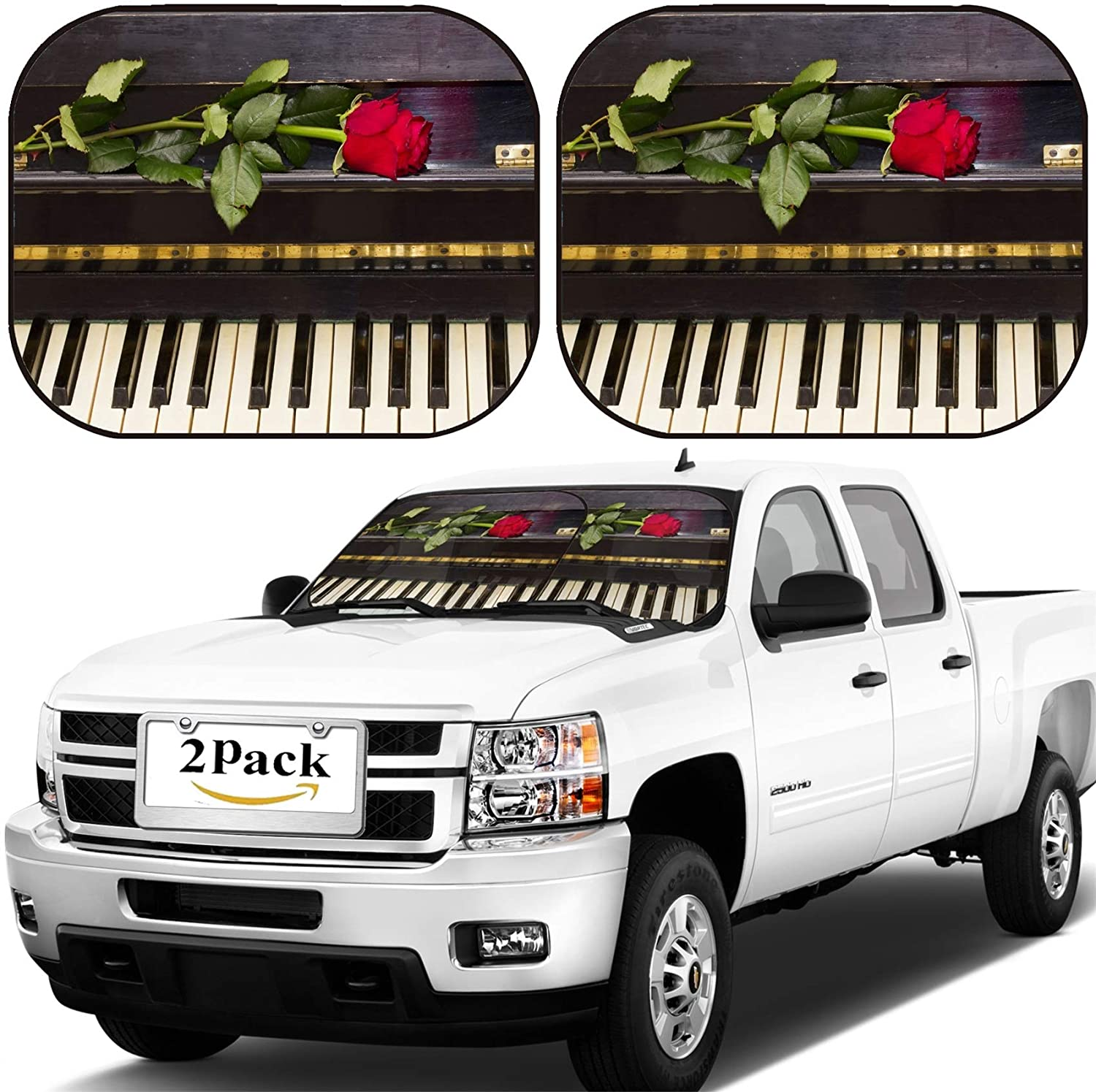 MSD Car Windshield Sun Shade, Universal Fit, 2-Piece for Car Window SunShades, Automotive Foldable Protector Cover, Image ID: 24239473 one red Rose on Vintage Black Piano