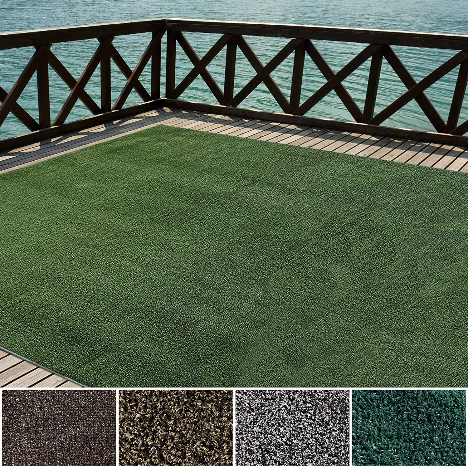 iCustomRug Indoor/Outdoor Turf Rugs and Runners Artificial Grass Many Custom Sizes and Widths Finished Edges with Binding Tape Green 12' X 16'