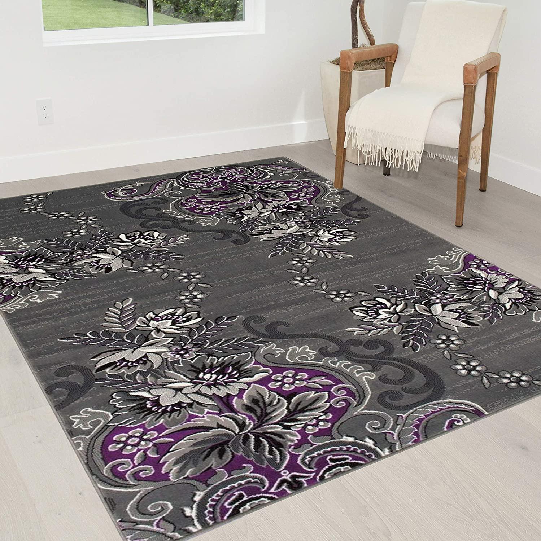 HR-Purple/Grey/Silver/Black/Abstract Area Rug Modern Contemporary Flower/Swirls Pattern (5' x 7')