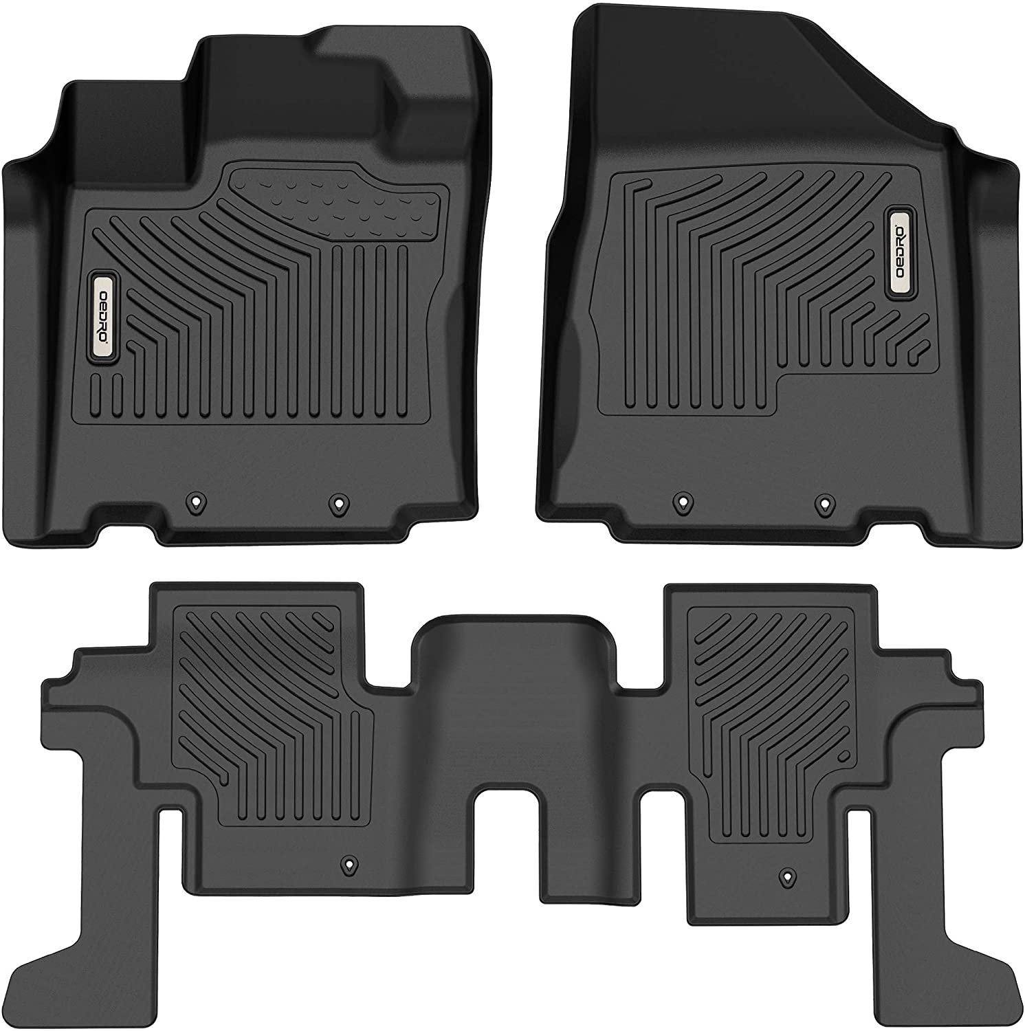 oEdRo Floor Mats Compatible with 2013-2020 Nissan Pathfinder, Custom Fit Front & 2nd Seat 2 Row Liner Set - Black TPE All-Weather Guard