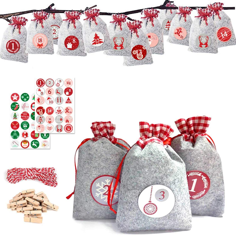 Interesty 24 Days Advent Calendar Bags, Christmas Burlap Hanging Advent Calendars Garland Candy Gift Bags Sacks DIY Countdown Decorations
