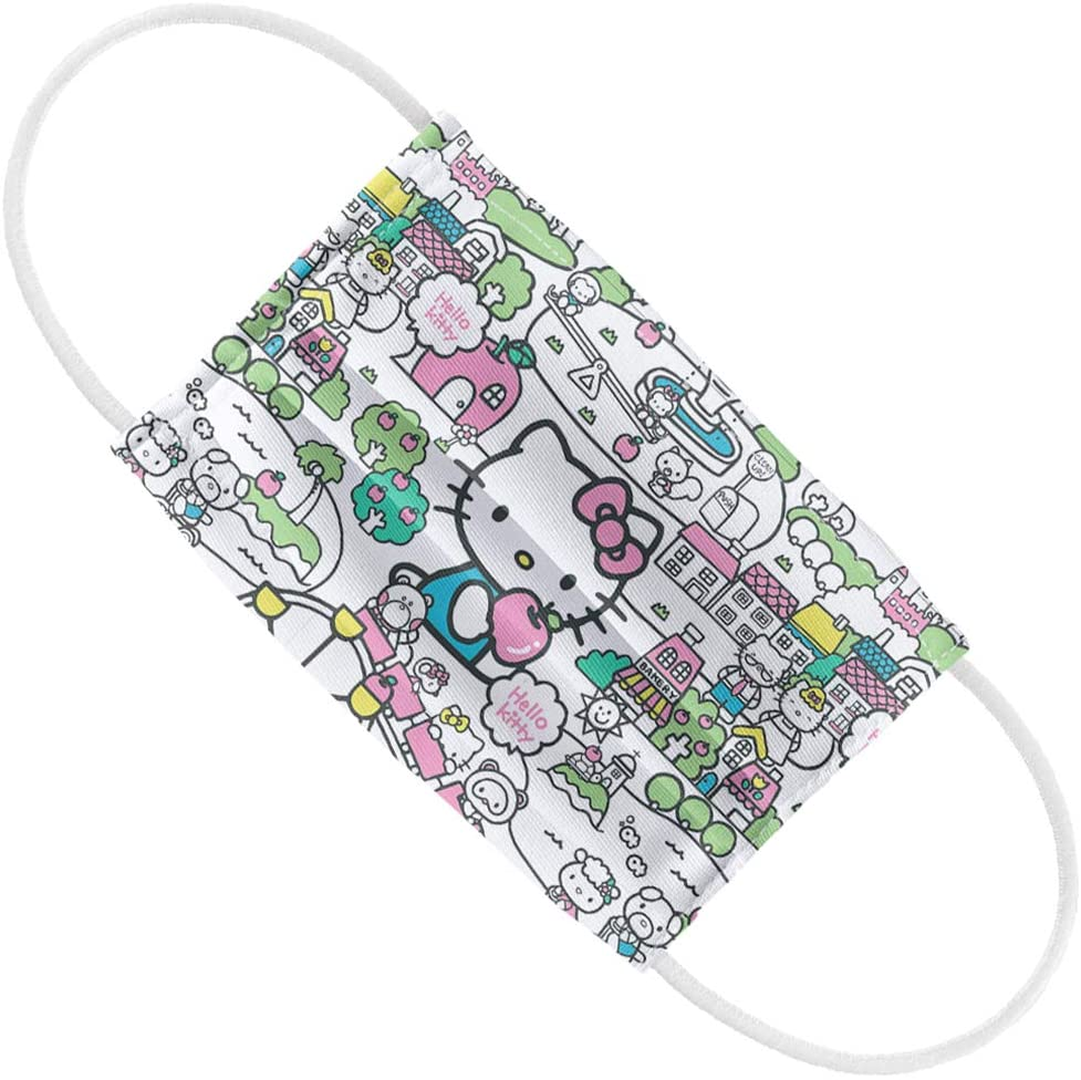 Hello Kitty Kids Pastel Teal Pattern 1-Ply Reusable Face Mask Covering