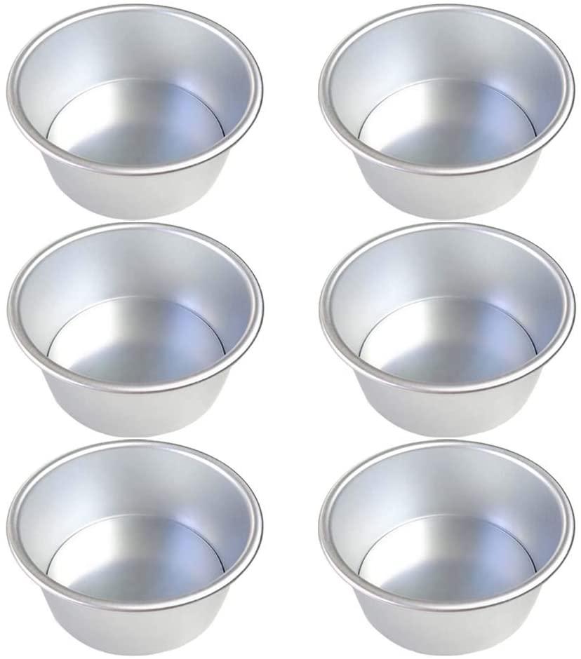 Haploon 4 Inch Aluminum Alloy Cake Pan,6 Pcs Mini Round Smash Cake Baking Pans Set for Baking Steaming Serving, Healthy & Sturdy, Mirror Finish & Dishwasher Safe