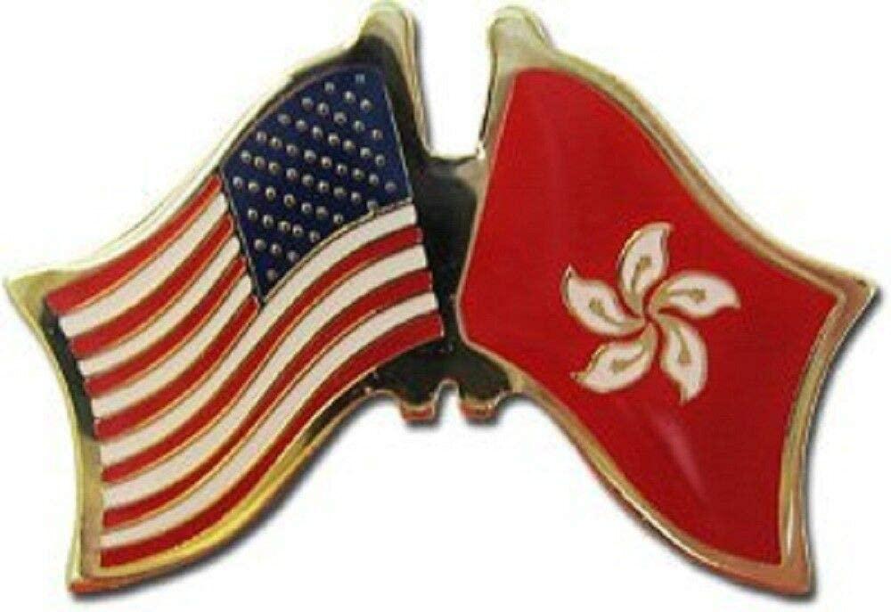 JumpingLight USA American Hong Kong Friendship Flag Bike Motorcycle Hat Cap Lapel Pin - Quality Flags