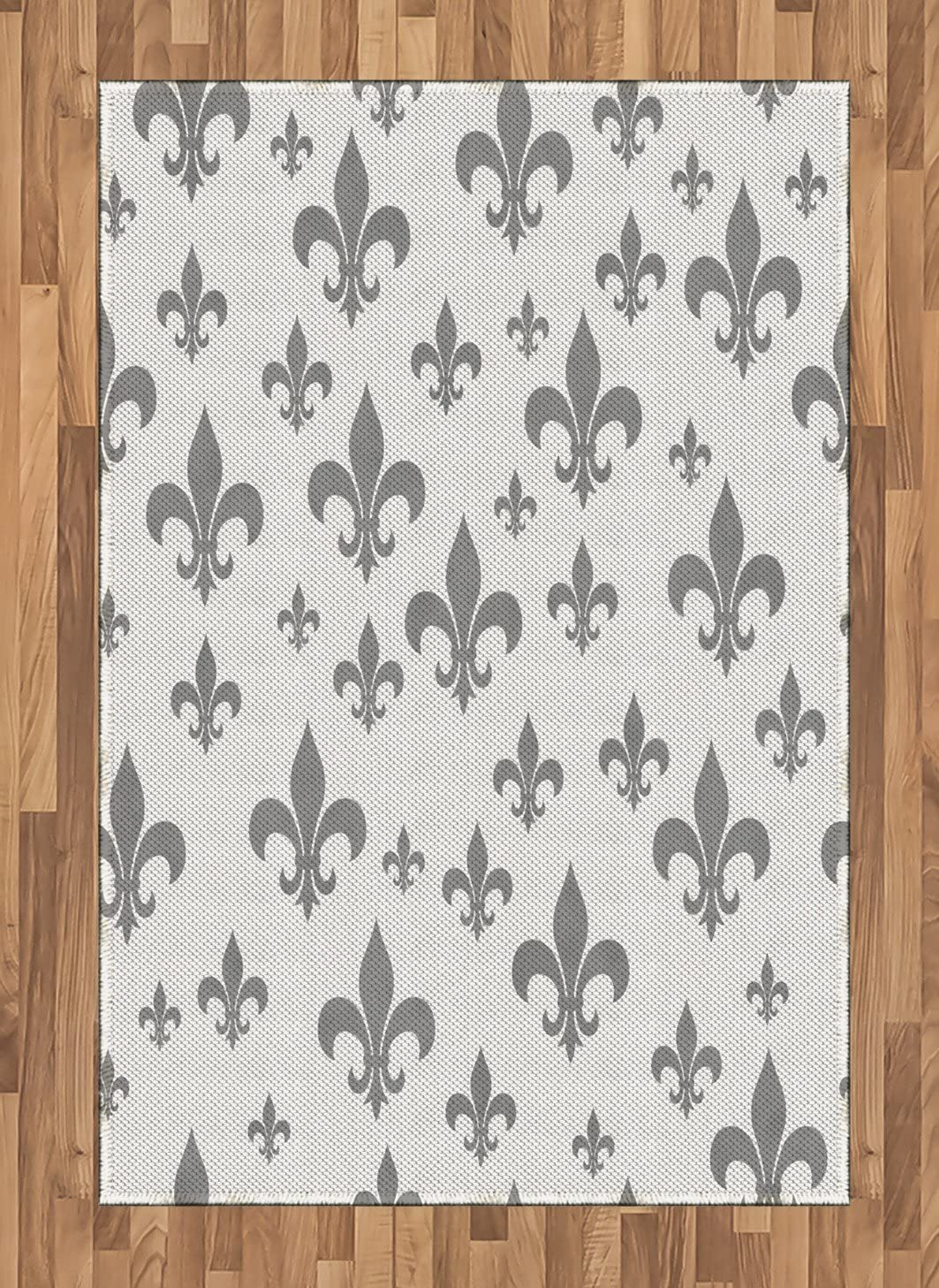 Ambesonne Fleur De Lis Area Rug, Lily Pattern Classic Retro Royal Vintage European Iris Ornamental Artwork, Flat Woven Accent Rug for Living Room Bedroom Dining Room, 4' X 5.7', Grey