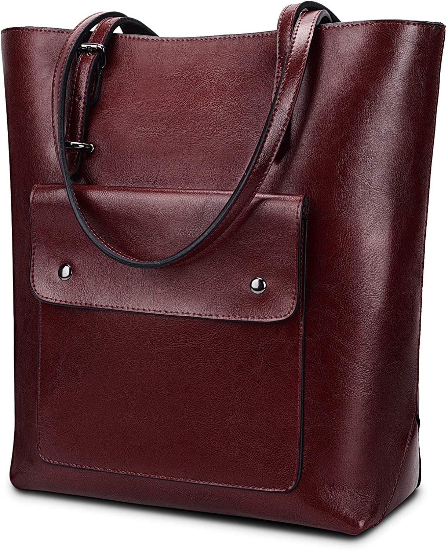 YALUXE Women's Front Pocket Vintage Style Soft Leather Work Tote Large Shoulder Bag Brown