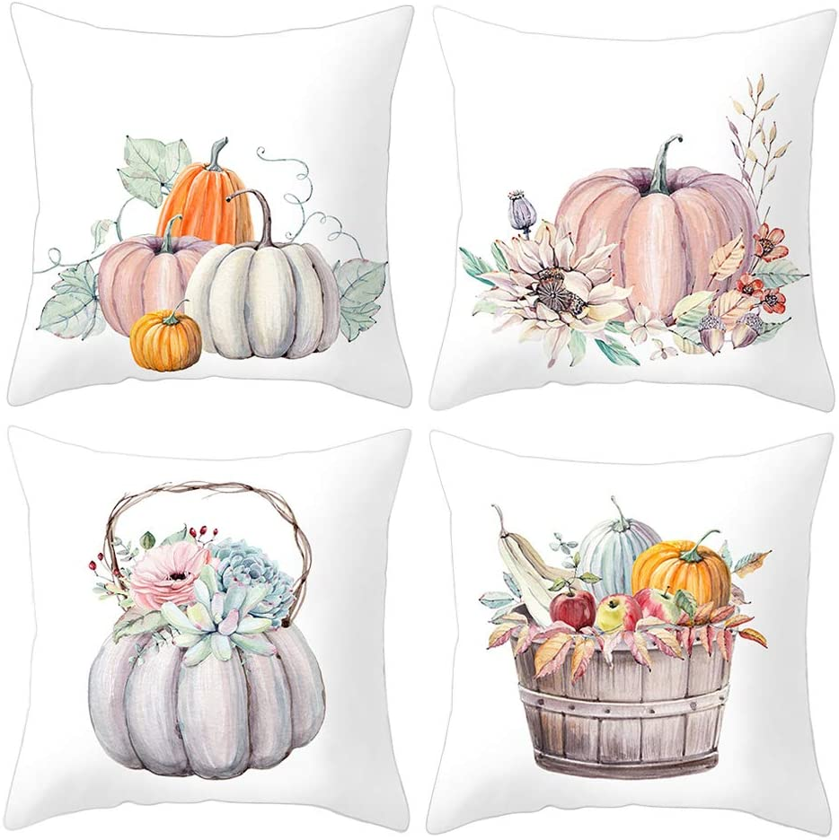PTHAHNIL Pumpkin Pillow Covers Set of 4 Autumn Harvest Decorations Grateful Thanksgiving Throw Pillow Covers Cushion Cover 18 X 18