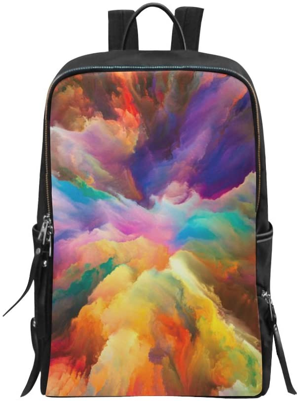 Bag Backpack Daypack Fantasy Abstract Decor Rainbow Colorful Burst Clouds