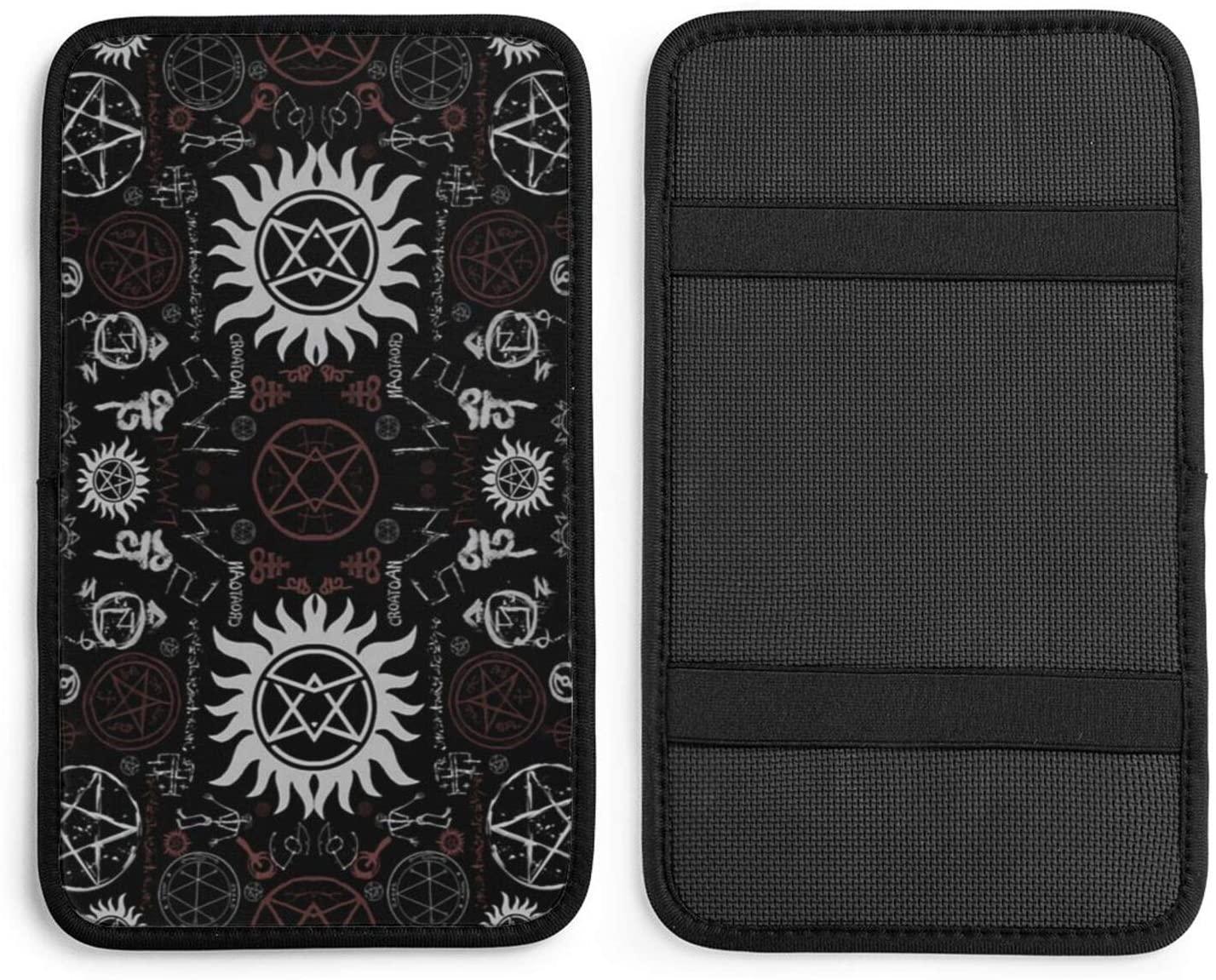 NDZHZEO Supernatural Symbols Black Auto Center Console Pad Car Armrest Seat Box Cover Protector Universal Fit
