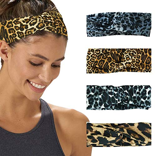4PackWomen'sHeadbandsBohoFlowerPrintingLeopard TwistedCrissCrossElasticHairBand (Style 1)