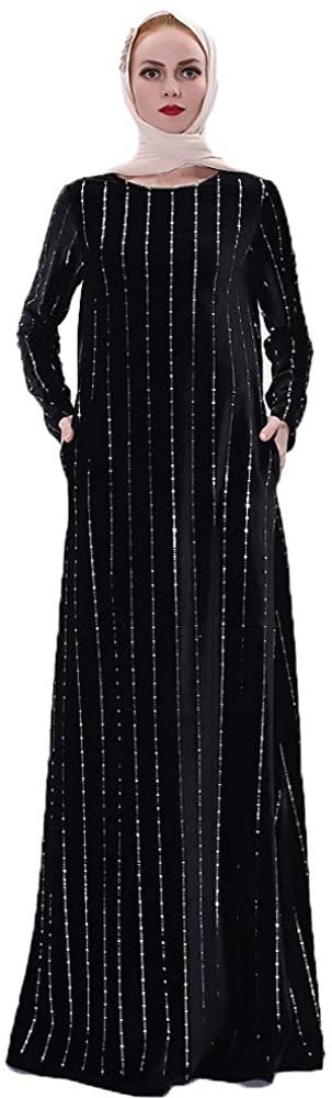HZUX Muslim Dresses for Women Long Dress Long Sleeve Women Abaya Dress Islamic National Robe